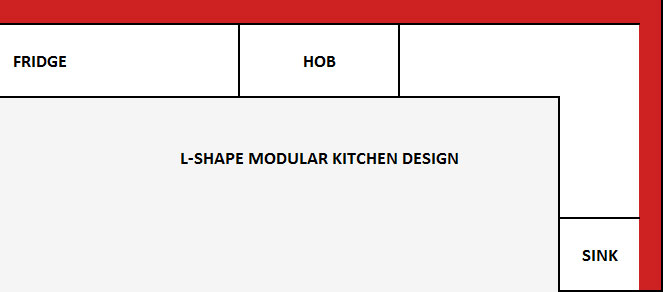 L-Shape Modular Kitchen Design Layout